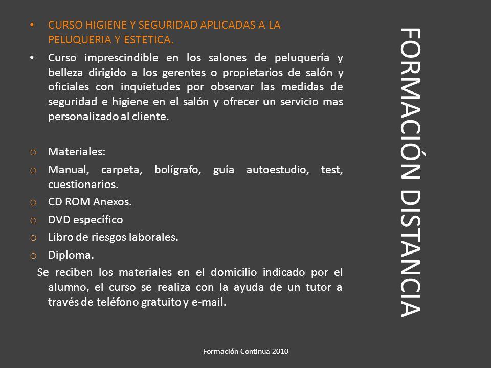 CURSO HIGIENE Y SEGURIDAD APLICADAS A LA PELUQUERIA Y ESTETICA.