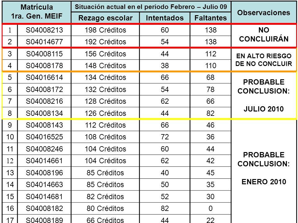 Matrícula 1ra. Gen. MEIF Observaciones Rezago escolar Intentados
