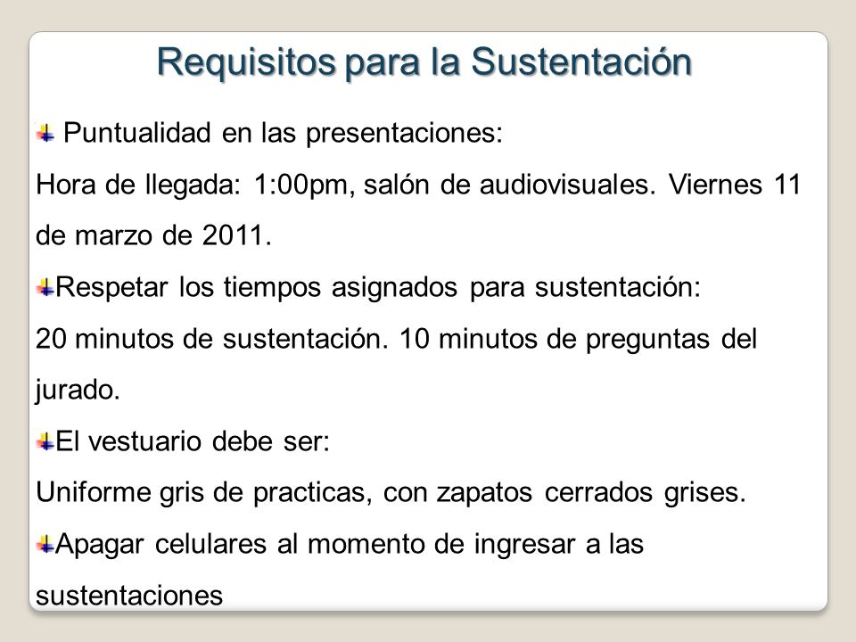 Requisitos para la Sustentación