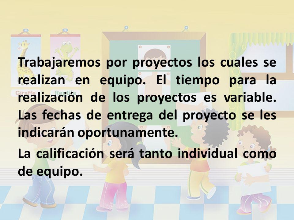 Trabajaremos por proyectos los cuales se realizan en equipo