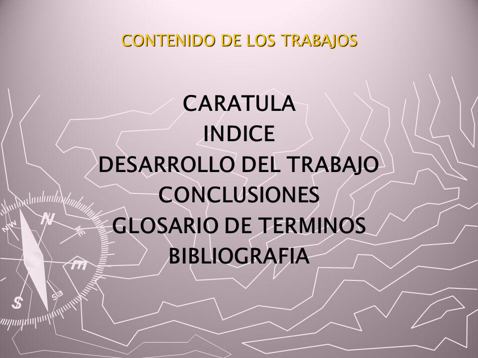 CONTENIDO DE LOS TRABAJOS