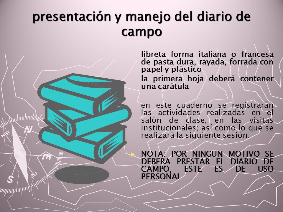 presentación y manejo del diario de campo