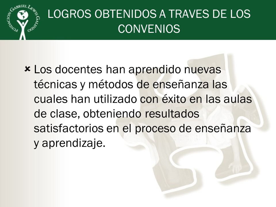 LOGROS OBTENIDOS A TRAVES DE LOS CONVENIOS