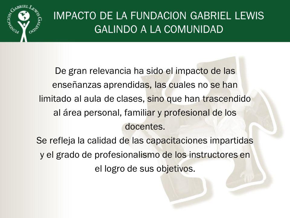 IMPACTO DE LA FUNDACION GABRIEL LEWIS GALINDO A LA COMUNIDAD