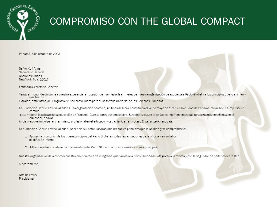 COMPROMISO CON THE GLOBAL COMPACT
