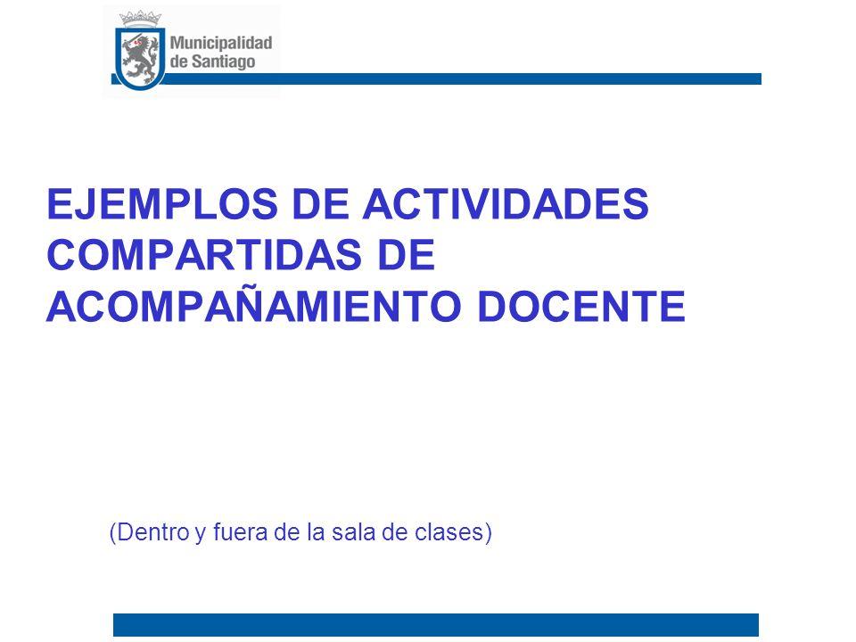 Ejemplos de actividades compartidas de acompañamiento docente