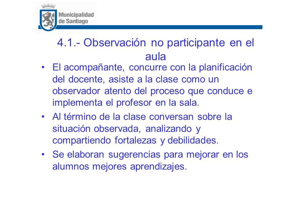 4.1.- Observación no participante en el aula