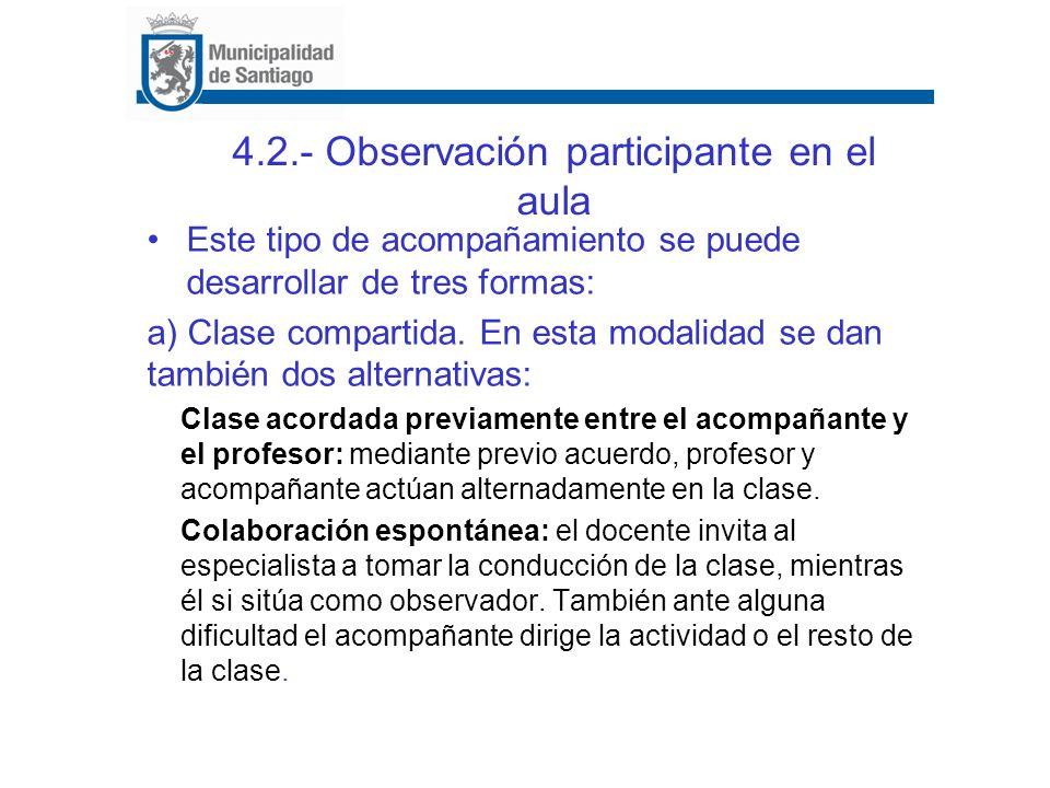 4.2.- Observación participante en el aula