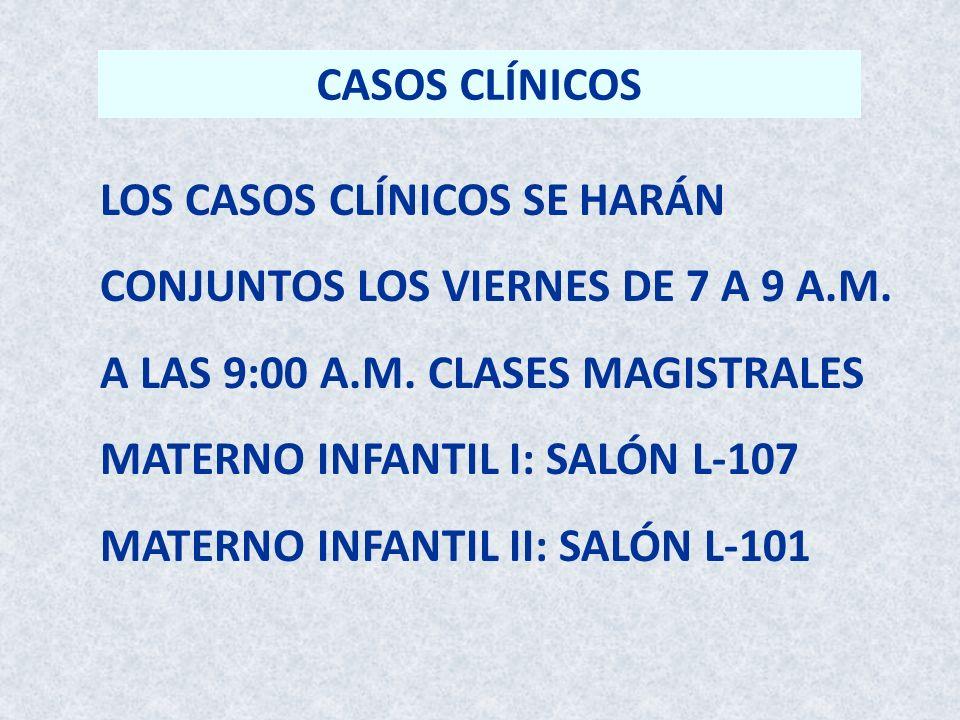 CASOS CLÍNICOS LOS CASOS CLÍNICOS SE HARÁN. CONJUNTOS LOS VIERNES DE 7 A 9 A.M. A LAS 9:00 A.M. CLASES MAGISTRALES.