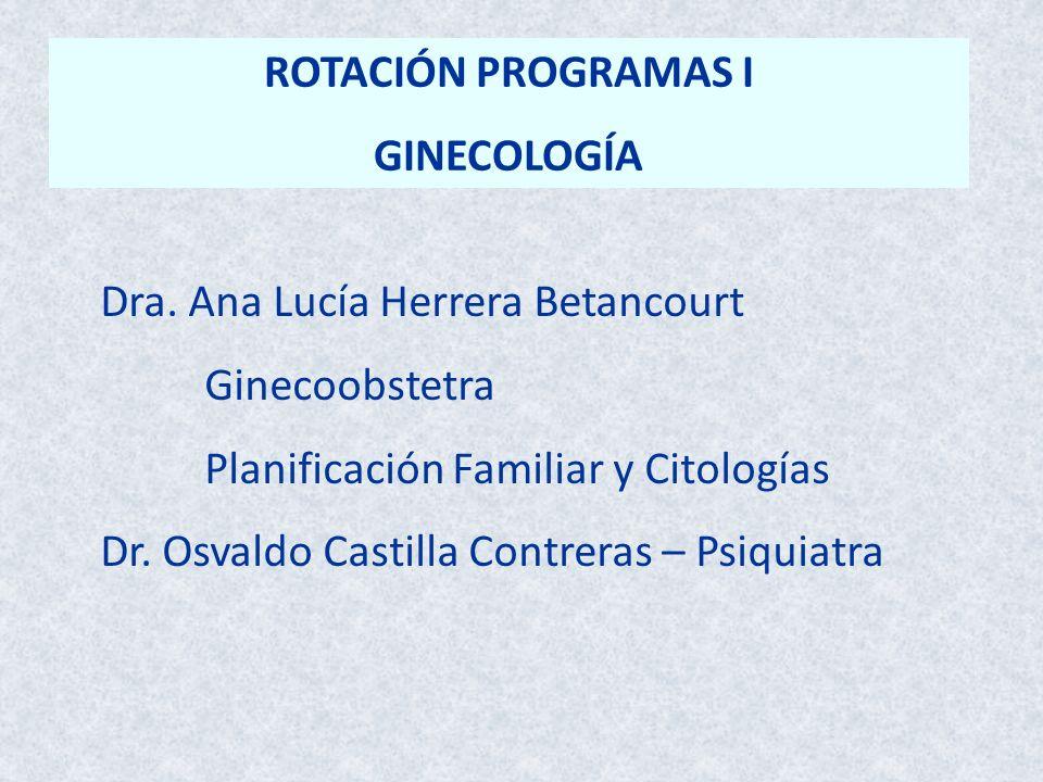 ROTACIÓN PROGRAMAS I GINECOLOGÍA. Dra. Ana Lucía Herrera Betancourt. Ginecoobstetra. Planificación Familiar y Citologías.