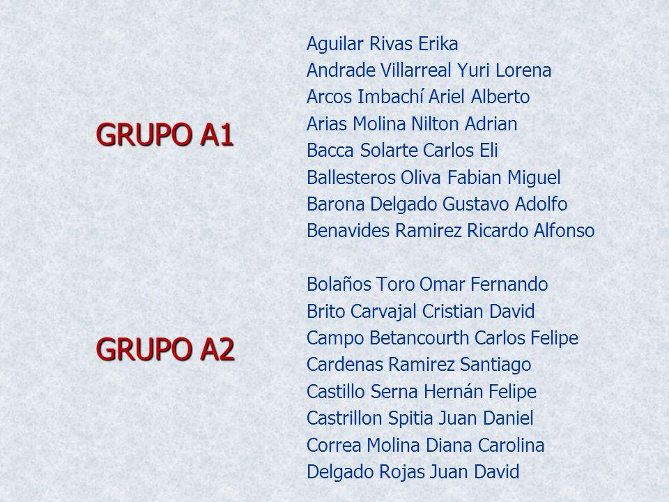 GRUPO A1 GRUPO A2 Aguilar Rivas Erika Andrade Villarreal Yuri Lorena