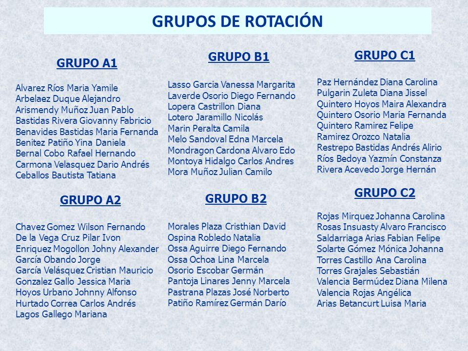GRUPOS DE ROTACIÓN GRUPO C1 GRUPO B1 GRUPO A1 GRUPO C2 GRUPO B2