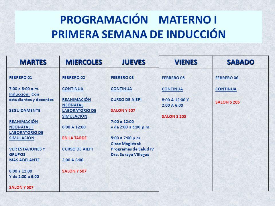 PROGRAMACIÓN MATERNO I PRIMERA SEMANA DE INDUCCIÓN