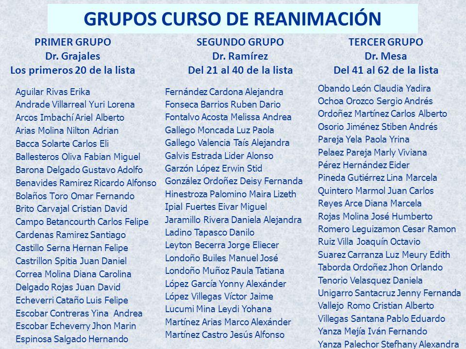 GRUPOS CURSO DE REANIMACIÓN Los primeros 20 de la lista