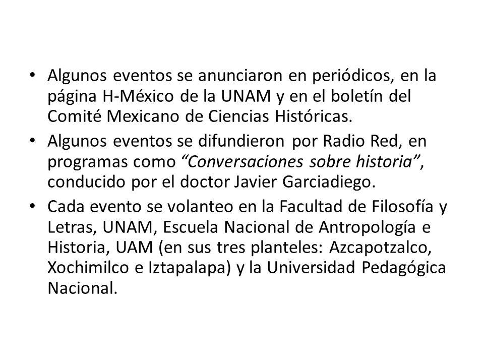 Algunos eventos se anunciaron en periódicos, en la página H-México de la UNAM y en el boletín del Comité Mexicano de Ciencias Históricas.