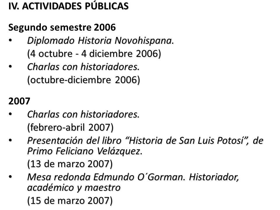 IV. ACTIVIDADES PÚBLICAS
