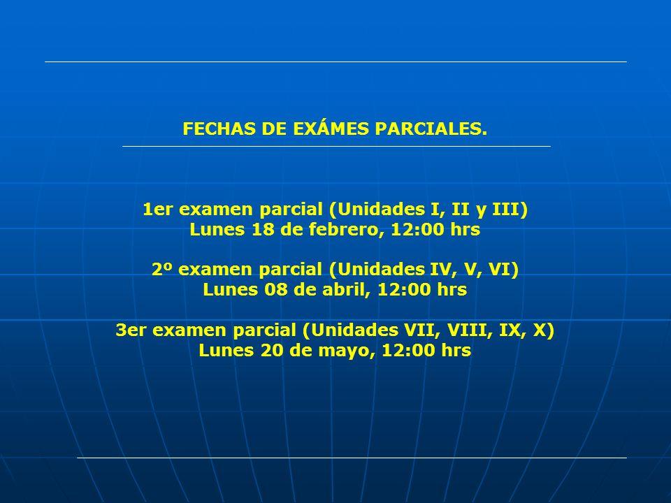 FECHAS DE EXÁMES PARCIALES.