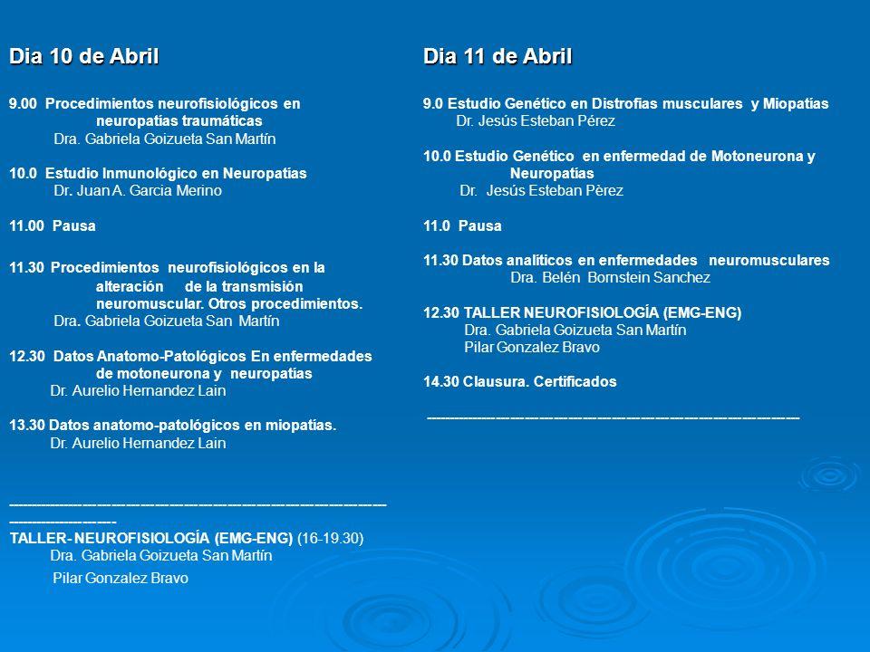 Dia 10 de Abril Dia 11 de Abril Pilar Gonzalez Bravo