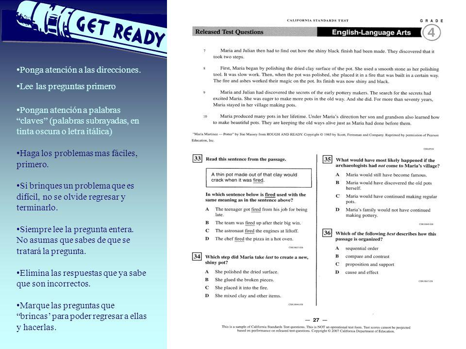 TESTING Ponga atención a las direcciones. Lee las preguntas primero