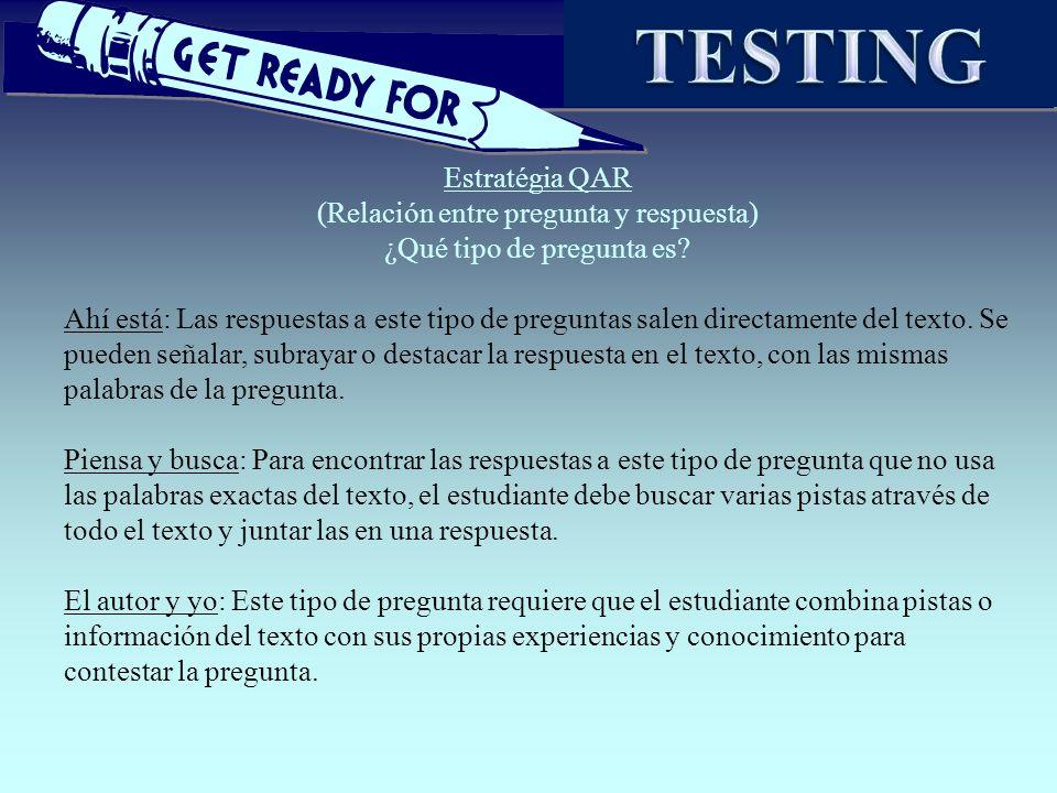 TESTING Estratégia QAR (Relación entre pregunta y respuesta)