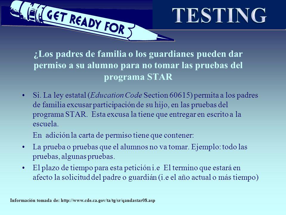 TESTING ¿Los padres de familia o los guardianes pueden dar permiso a su alumno para no tomar las pruebas del programa STAR.