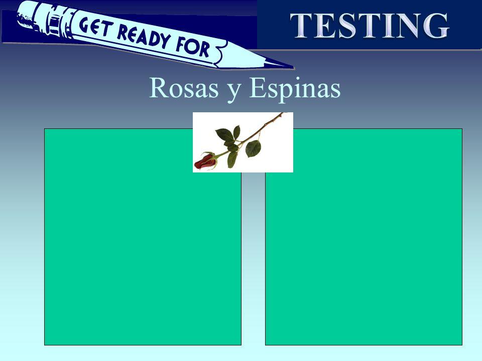 TESTING Rosas y Espinas Utilizar una hoja grande para hacer apuntes.