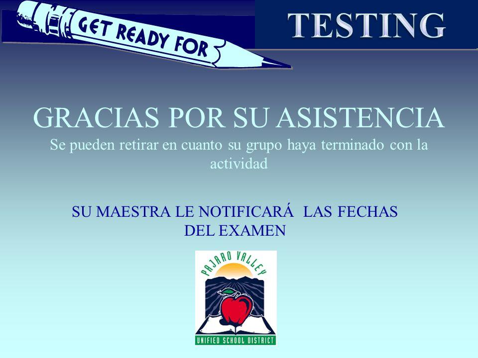 TESTING GRACIAS POR SU ASISTENCIA