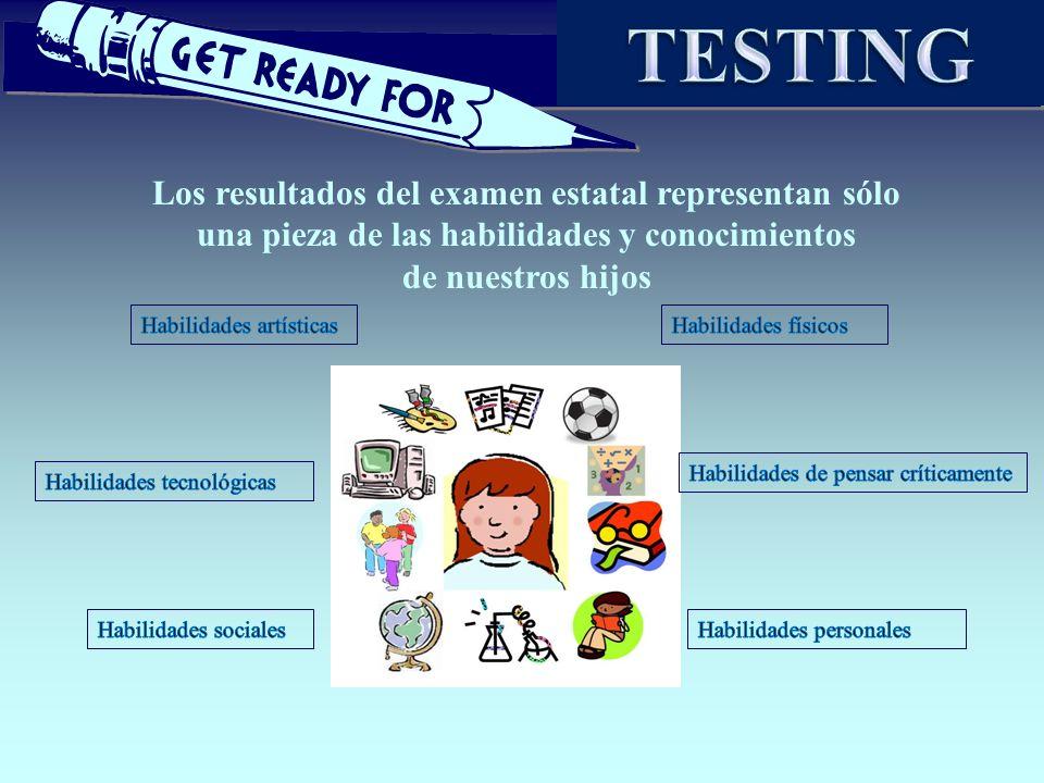 TESTING Los resultados del examen estatal representan sólo una pieza de las habilidades y conocimientos.