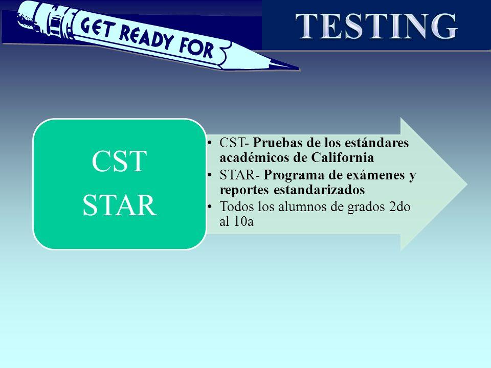 TESTING CST. STAR. CST- Pruebas de los estándares académicos de California. STAR- Programa de exámenes y reportes estandarizados.