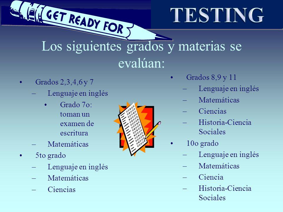 Los siguientes grados y materias se evalúan: