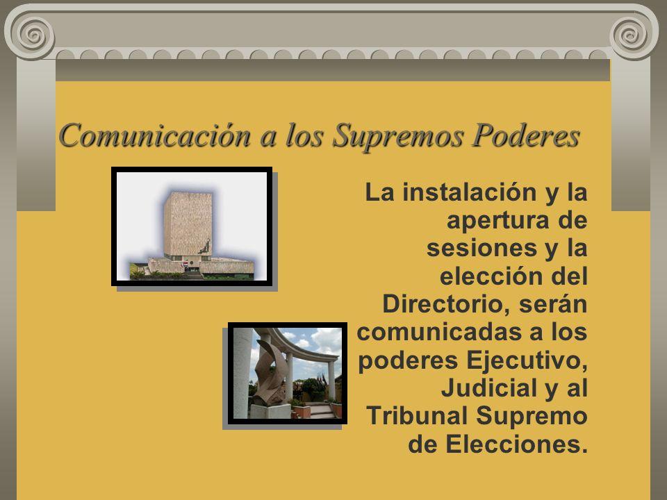 Comunicación a los Supremos Poderes