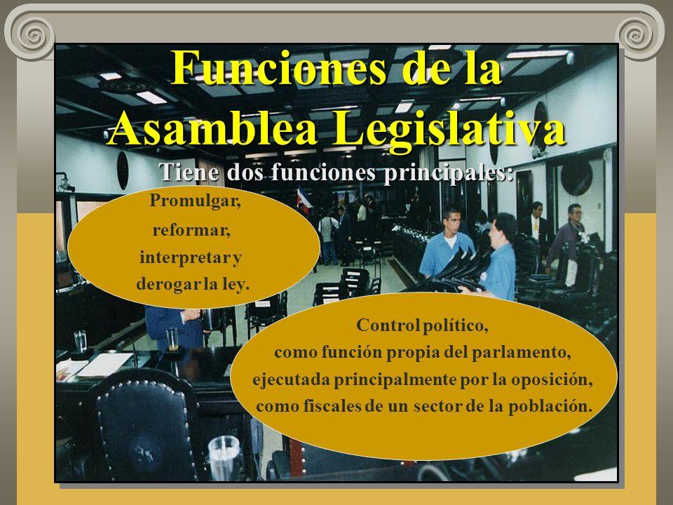 Funciones de la Asamblea Legislativa