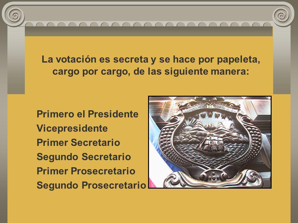 La votación es secreta y se hace por papeleta, cargo por cargo, de las siguiente manera: