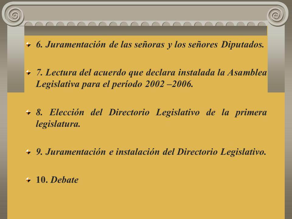 6. Juramentación de las señoras y los señores Diputados.