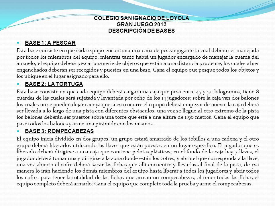 COLEGIO SAN IGNACIO DE LOYOLA GRAN JUEGO 2013 DESCRIPCIÓN DE BASES