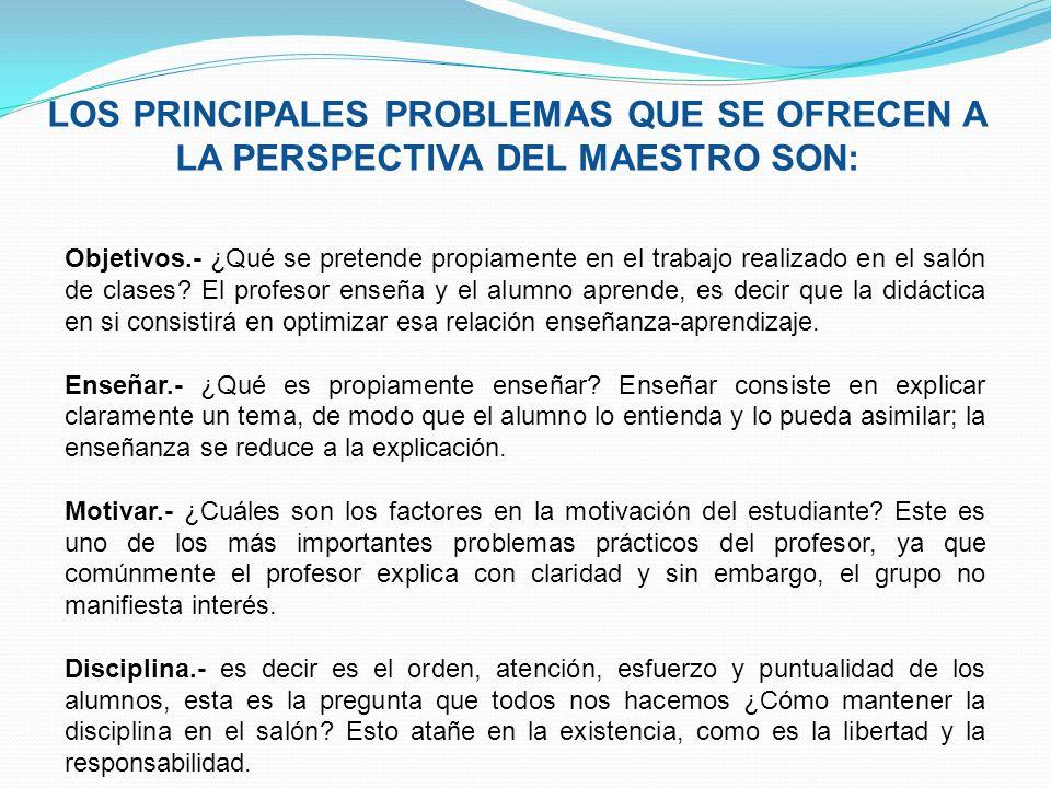 LOS PRINCIPALES PROBLEMAS QUE SE OFRECEN A LA PERSPECTIVA DEL MAESTRO SON: