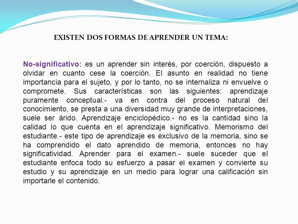 EXISTEN DOS FORMAS DE APRENDER UN TEMA: