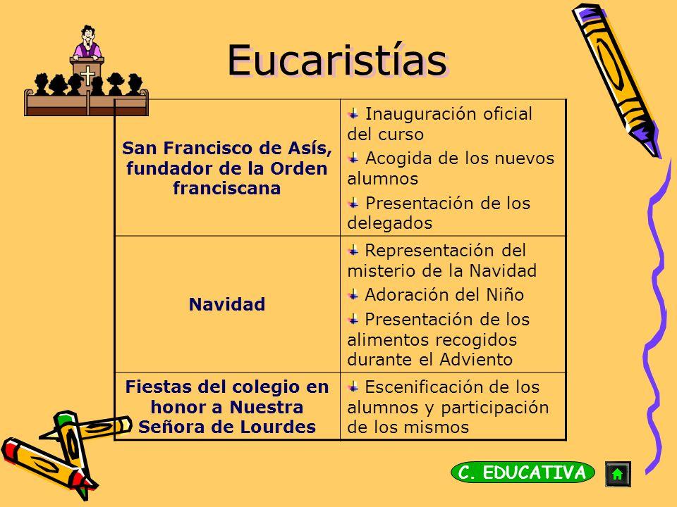 Eucaristías San Francisco de Asís, fundador de la Orden franciscana