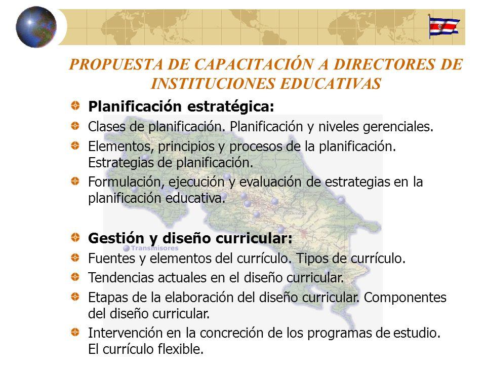 PROPUESTA DE CAPACITACIÓN A DIRECTORES DE INSTITUCIONES EDUCATIVAS
