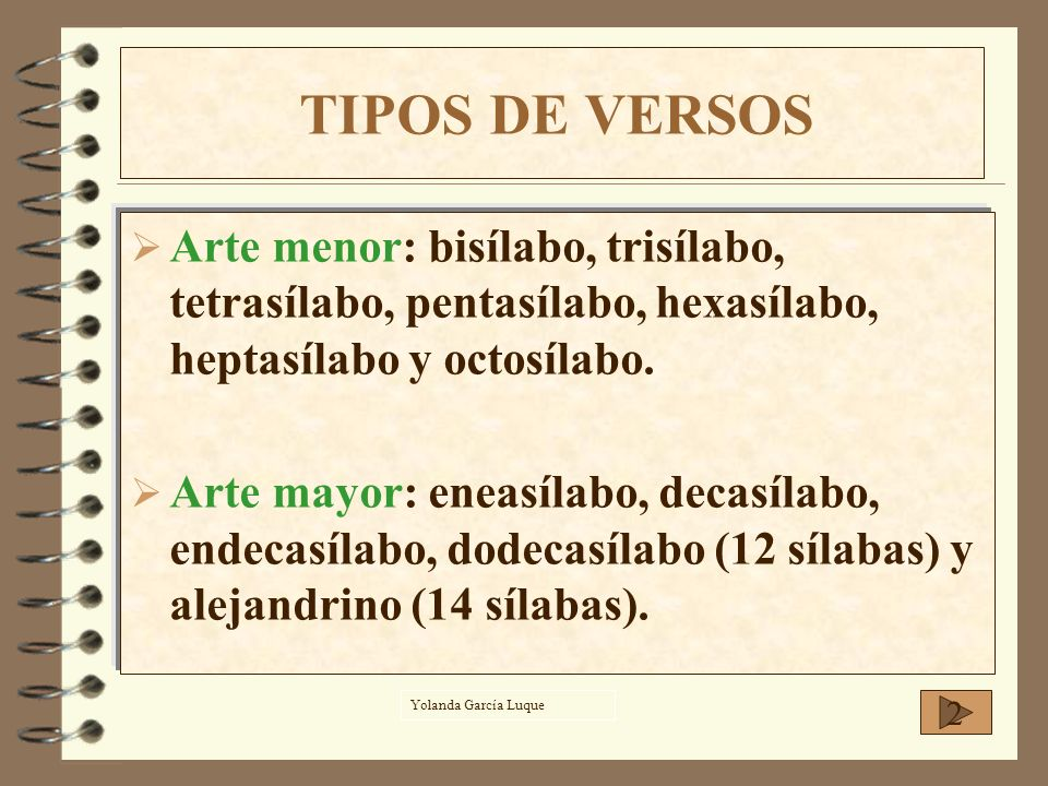 TIPOS DE VERSOS Arte menor: bisílabo, trisílabo, tetrasílabo, pentasílabo, hexasílabo, heptasílabo y octosílabo.