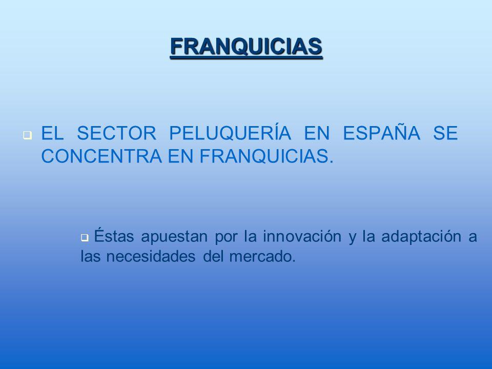 FRANQUICIASEL SECTOR PELUQUERÍA EN ESPAÑA SE CONCENTRA EN FRANQUICIAS.