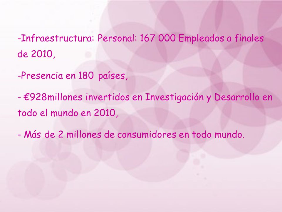 -Infraestructura: Personal: 167 000 Empleados a finales de 2010,