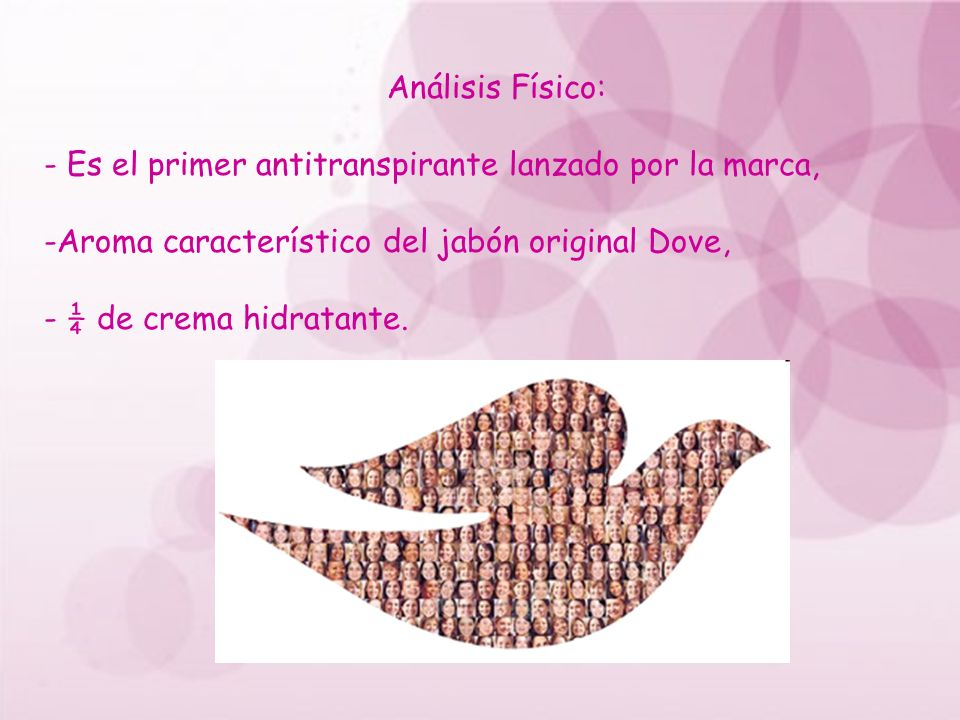 Análisis Físico: - Es el primer antitranspirante lanzado por la marca, Aroma característico del jabón original Dove,