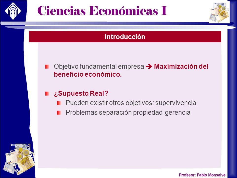Introducción Objetivo fundamental empresa  Maximización del beneficio económico. ¿Supuesto Real Pueden existir otros objetivos: supervivencia.