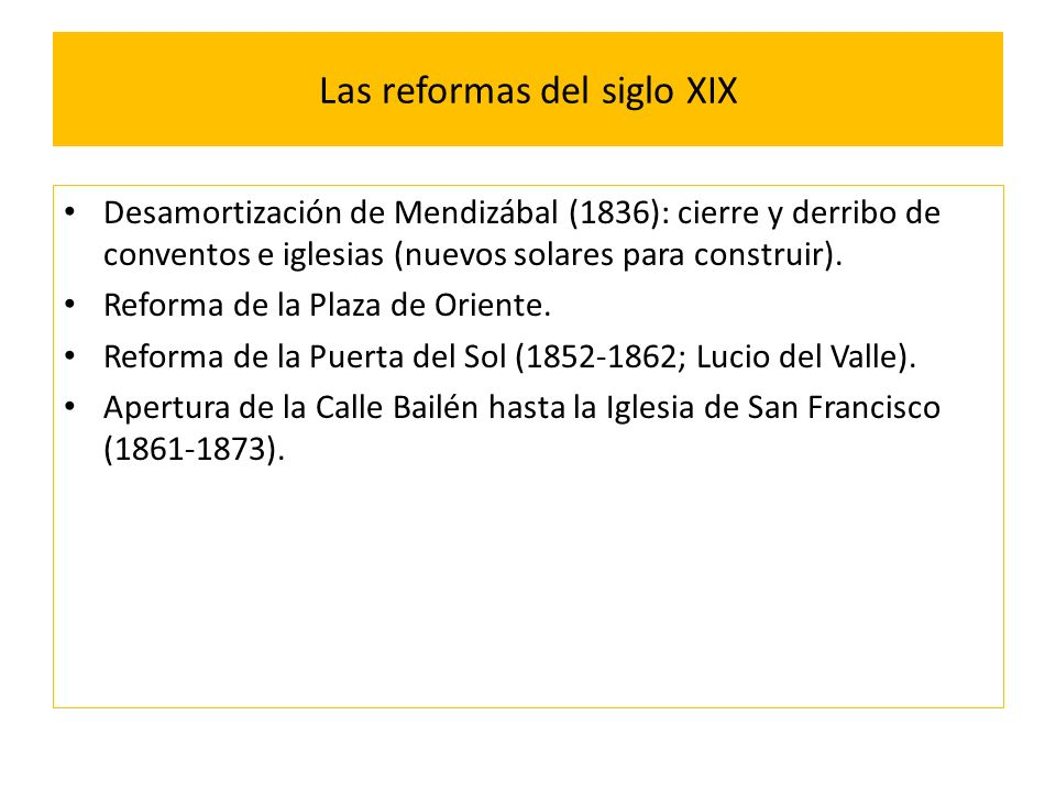 Las reformas del siglo XIX
