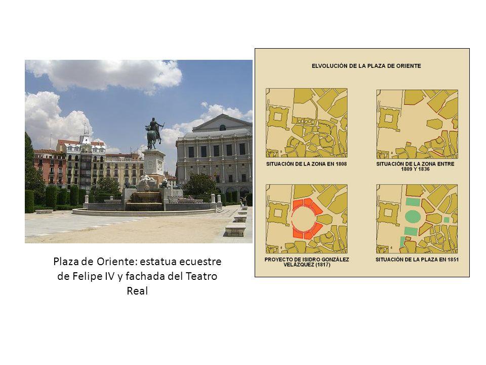Plaza de Oriente: estatua ecuestre de Felipe IV y fachada del Teatro Real
