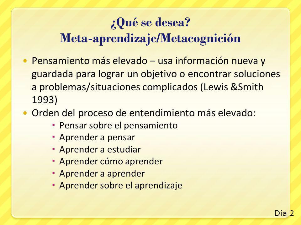 ¿Qué se desea Meta-aprendizaje/Metacognición