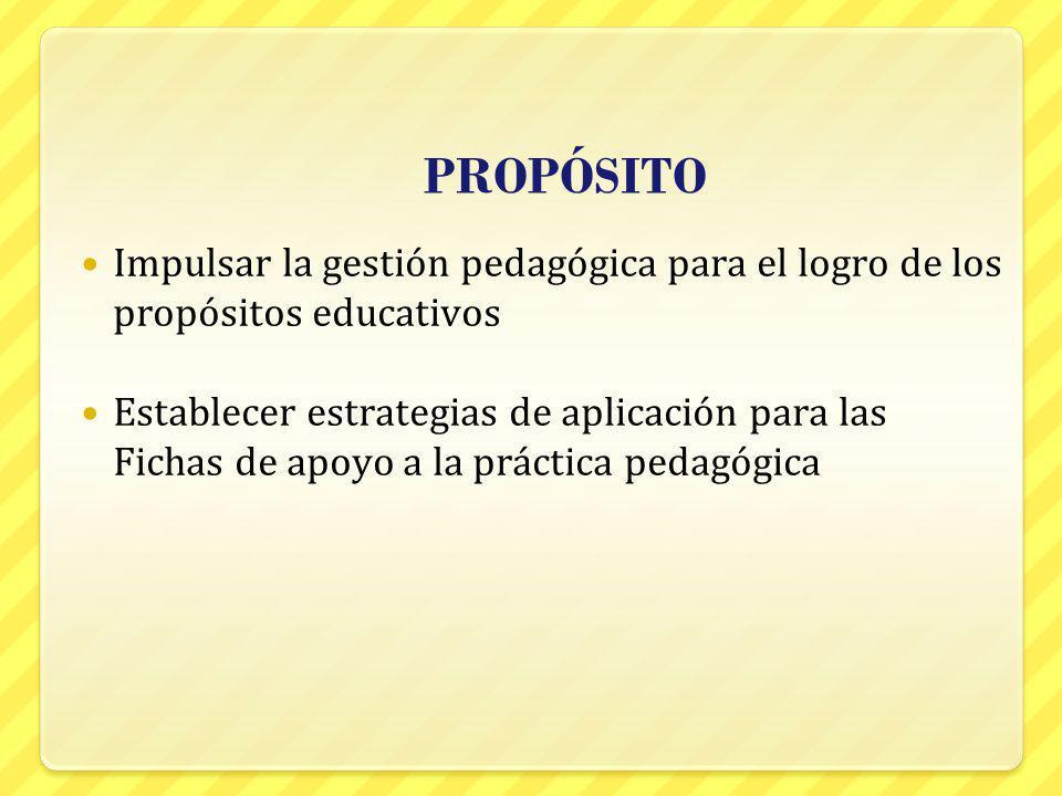 PROPÓSITO Impulsar la gestión pedagógica para el logro de los propósitos educativos.