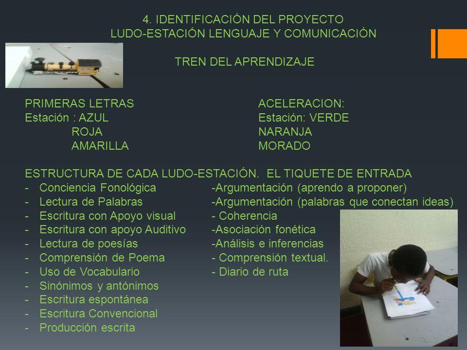 4. IDENTIFICACIÓN DEL PROYECTO LUDO-ESTACIÓN LENGUAJE Y COMUNICACIÓN