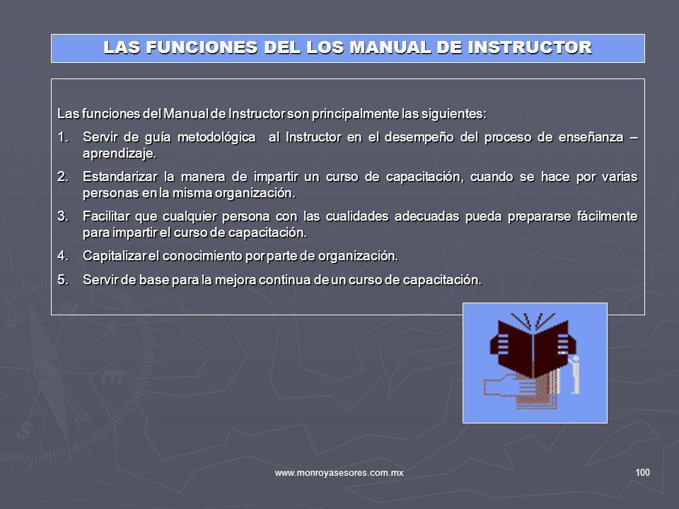 LAS FUNCIONES DEL LOS MANUAL DE INSTRUCTOR